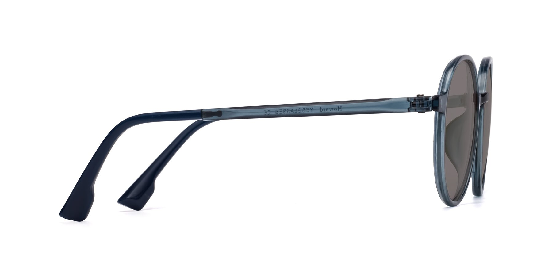Side of Howard in Deep Sky Blue with Medium Gray Tinted Lenses