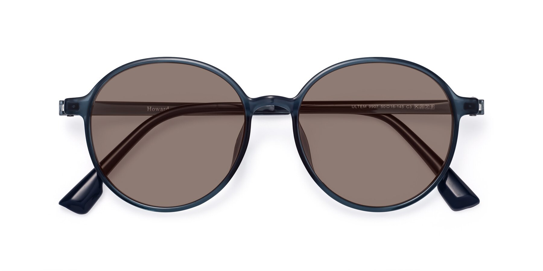 Folded Front of Howard in Deep Sky Blue with Medium Brown Tinted Lenses