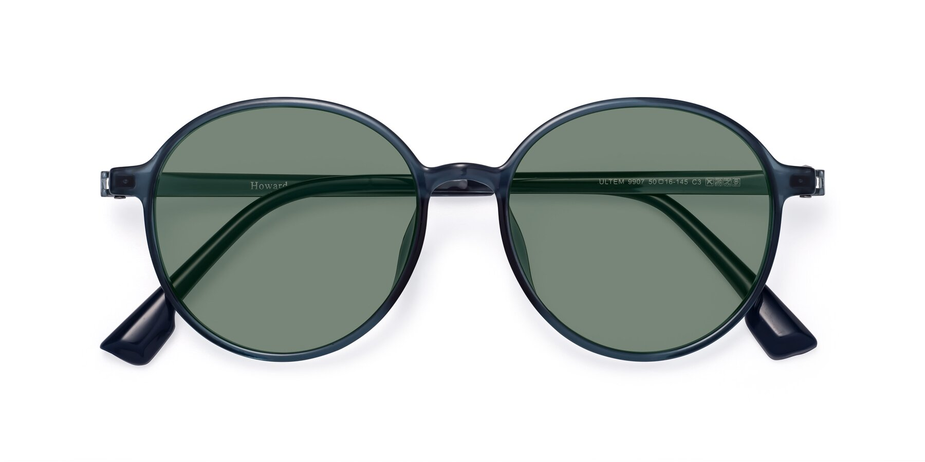 Folded Front of Howard in Deep Sky Blue with Medium Green Tinted Lenses