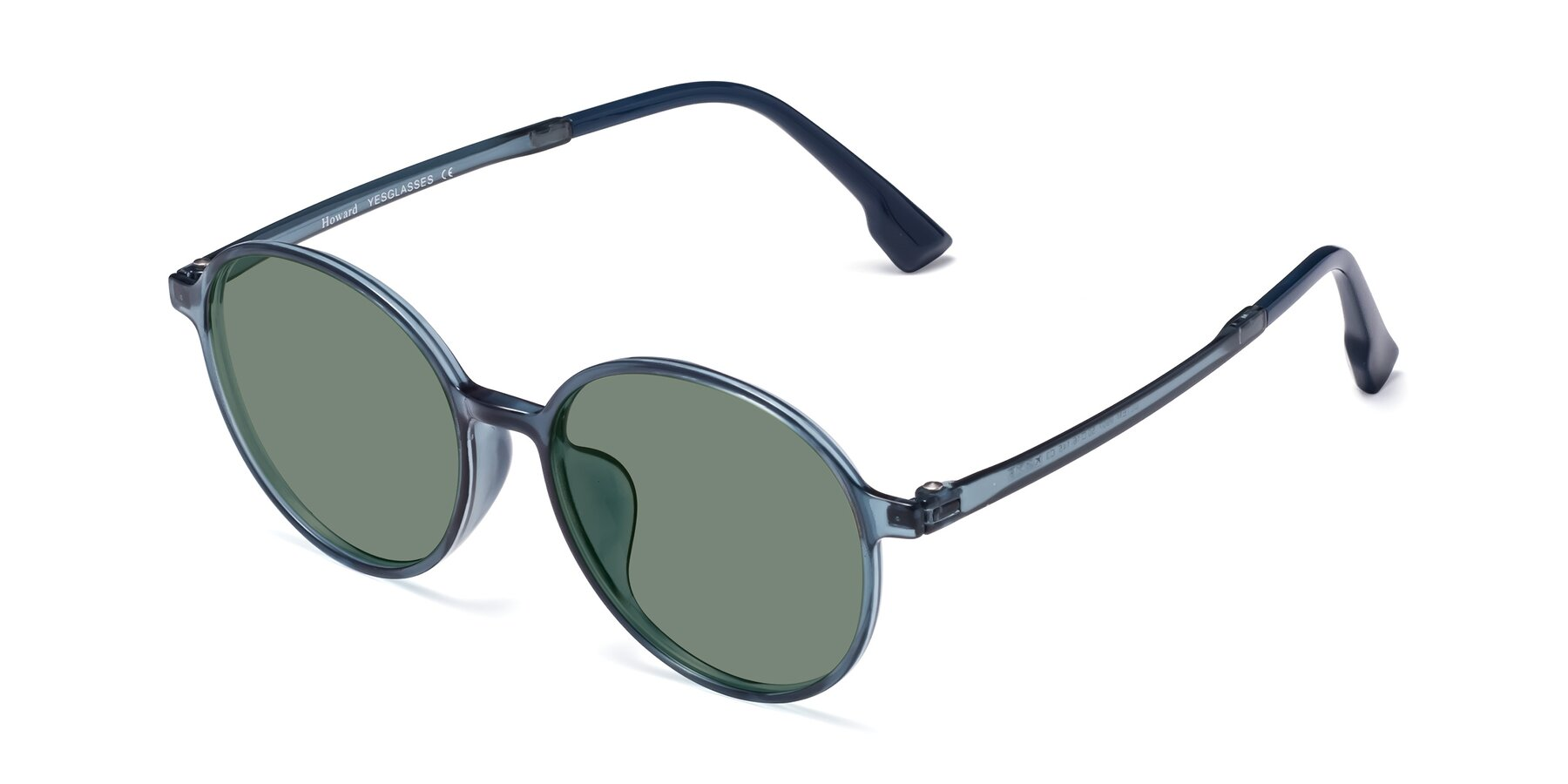 Angle of Howard in Deep Sky Blue with Medium Green Tinted Lenses