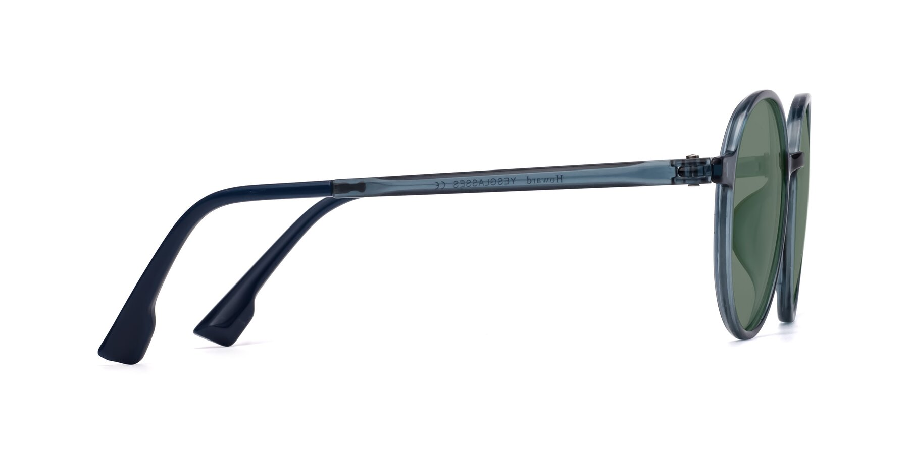 Side of Howard in Deep Sky Blue with Medium Green Tinted Lenses