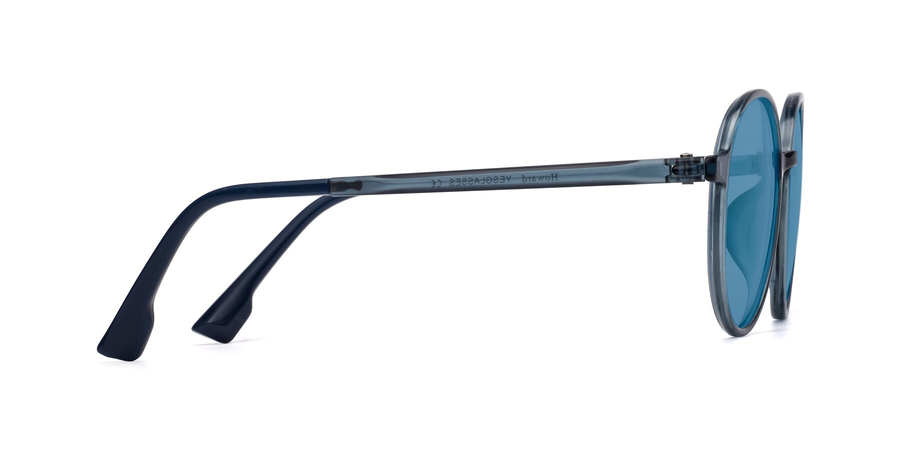 Side of Howard in Deep Sky Blue with Medium Blue Tinted Lenses