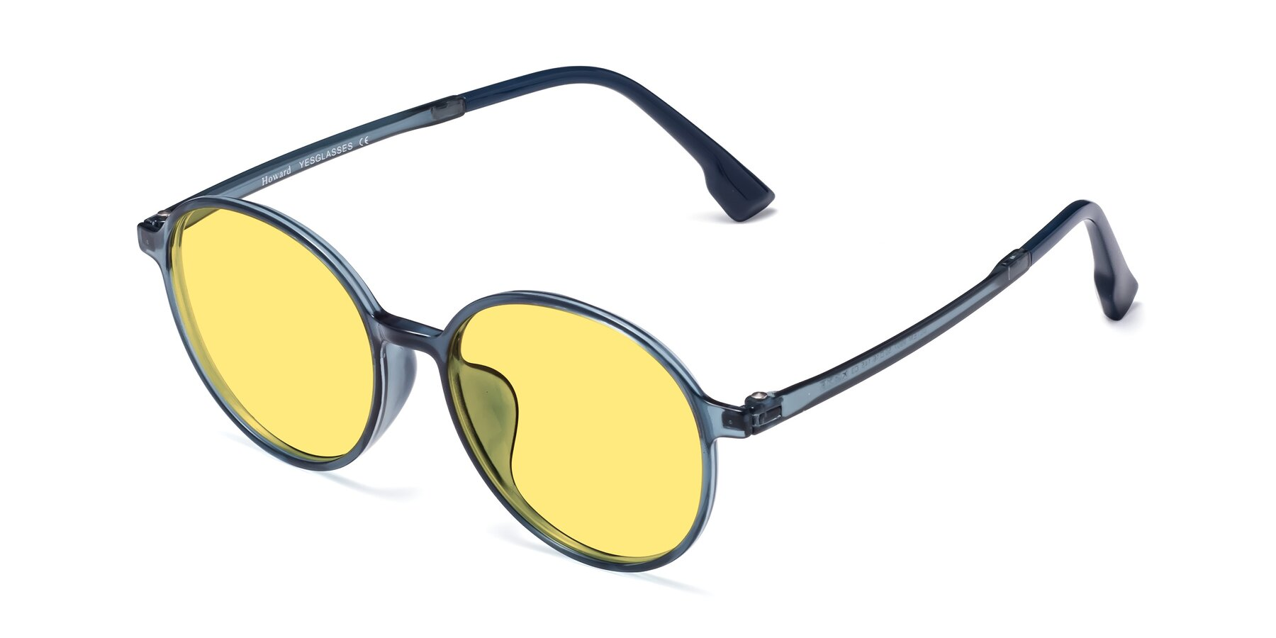 Angle of Howard in Deep Sky Blue with Medium Yellow Tinted Lenses