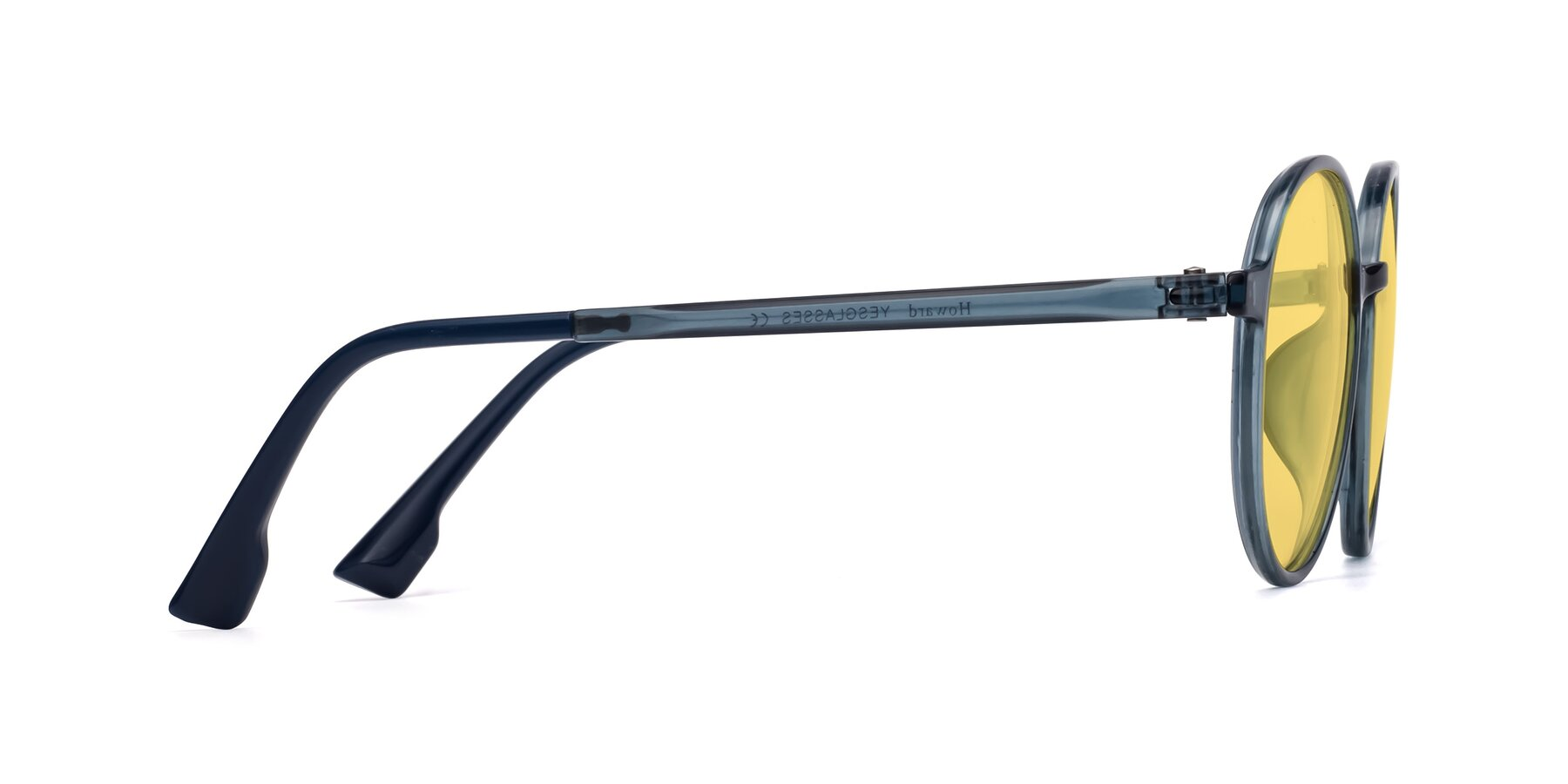 Side of Howard in Deep Sky Blue with Medium Yellow Tinted Lenses