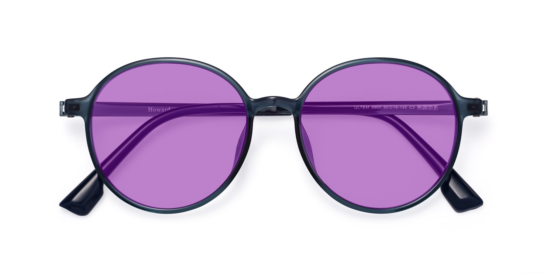 Folded Front of Howard in Deep Sky Blue with Medium Purple Tinted Lenses