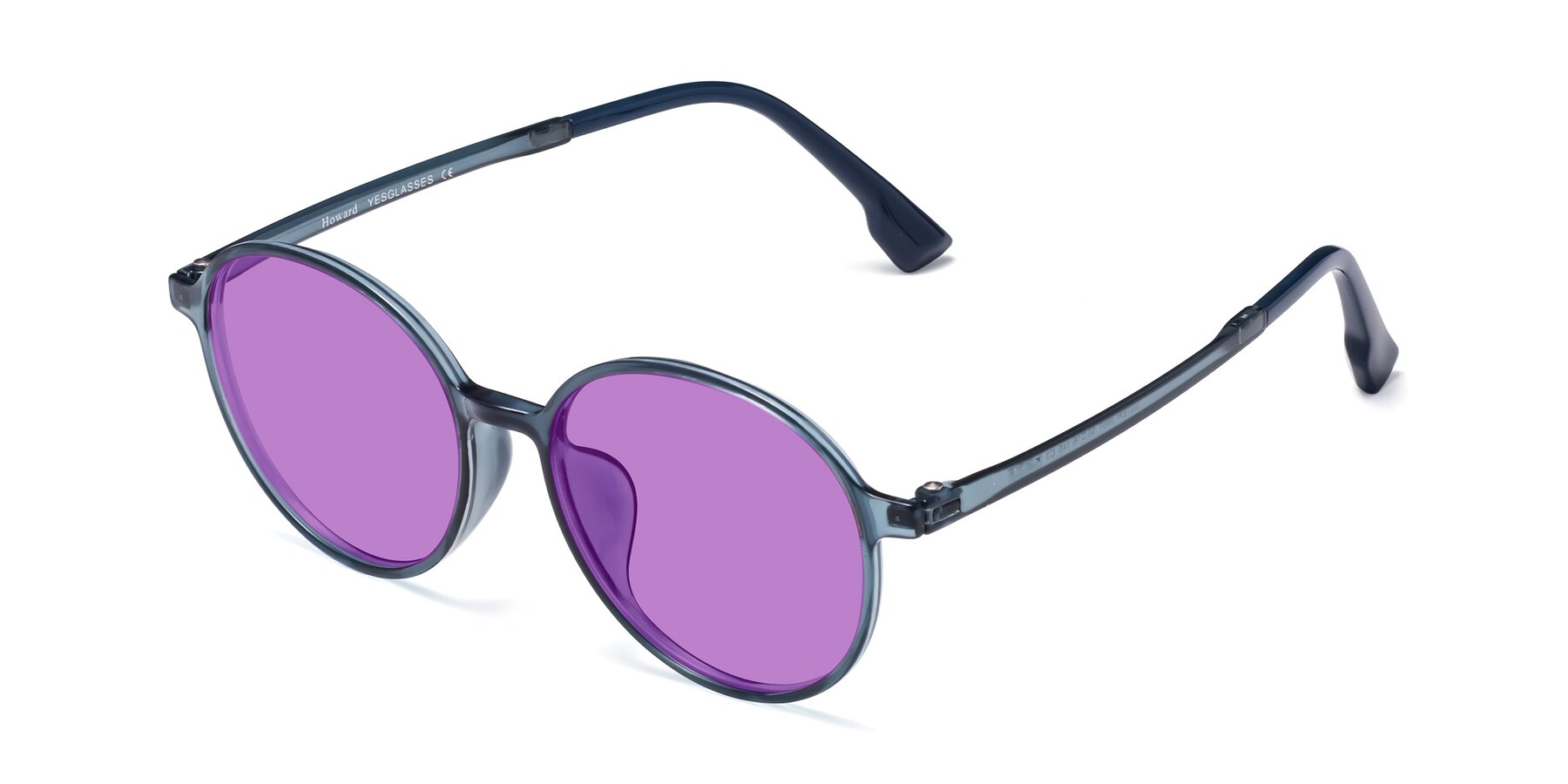 Angle of Howard in Deep Sky Blue with Medium Purple Tinted Lenses