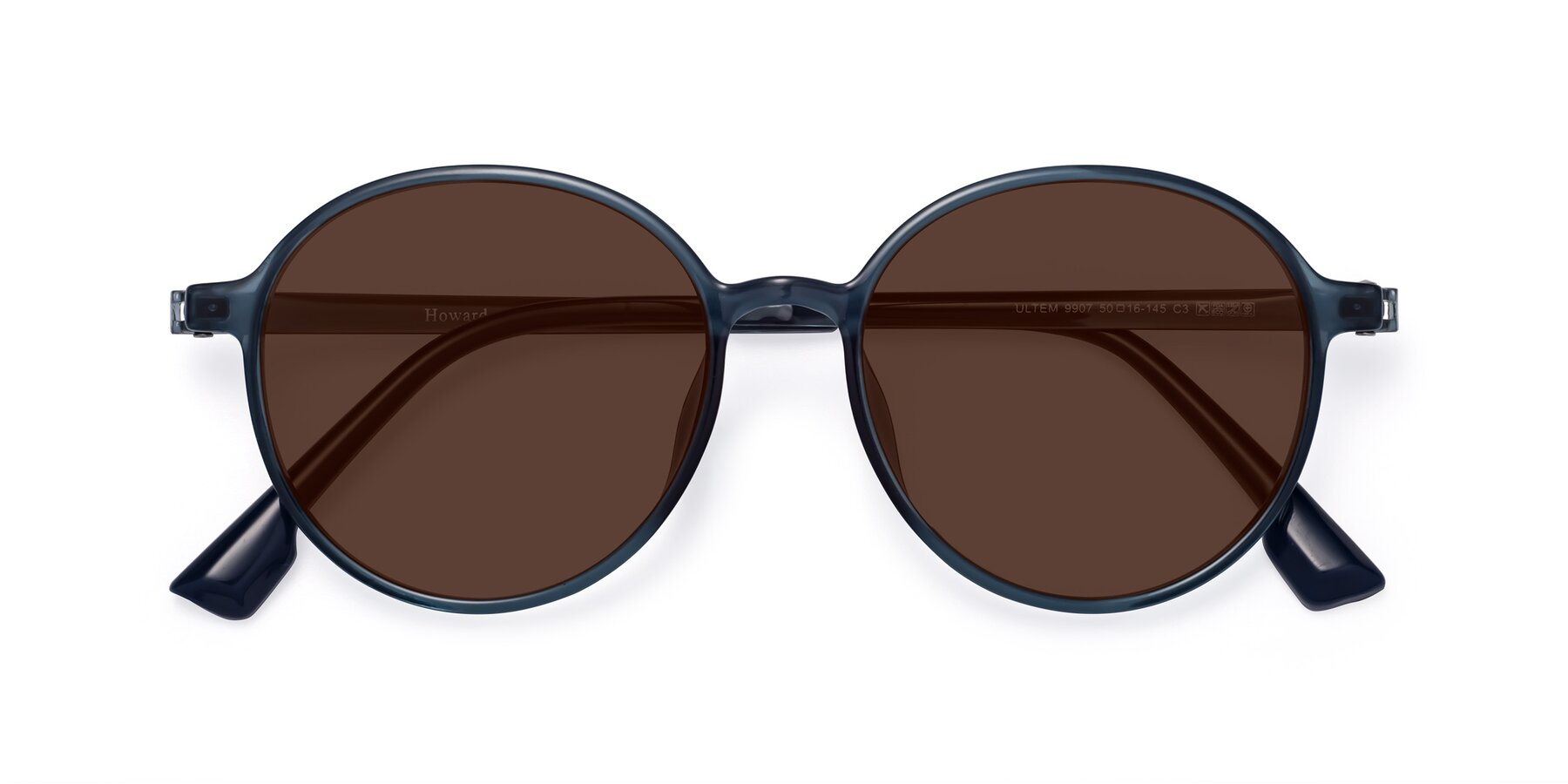 Folded Front of Howard in Deep Sky Blue with Brown Tinted Lenses