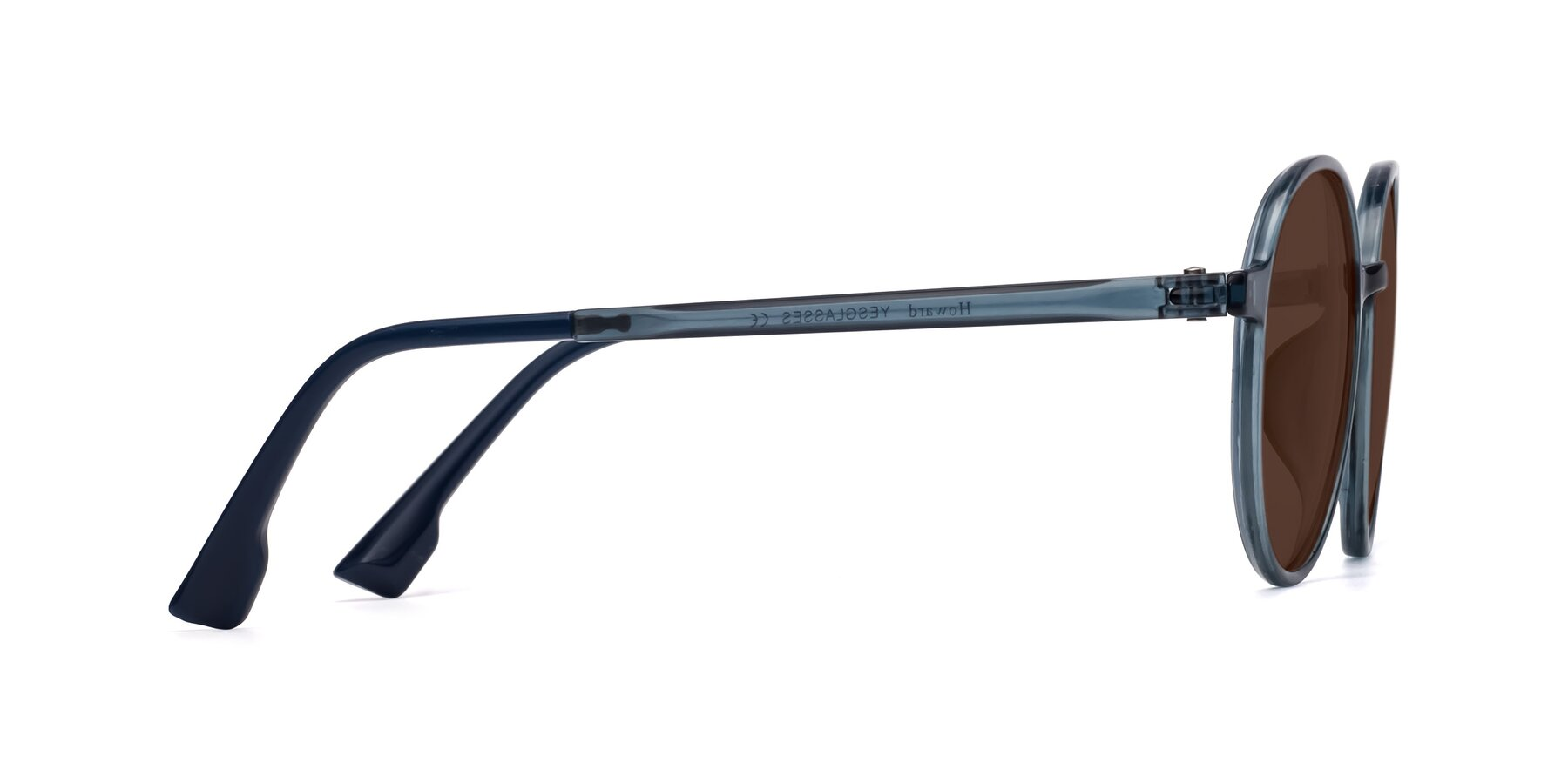 Side of Howard in Deep Sky Blue with Brown Tinted Lenses