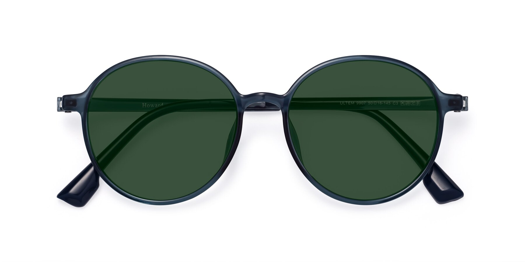 Folded Front of Howard in Deep Sky Blue with Green Tinted Lenses