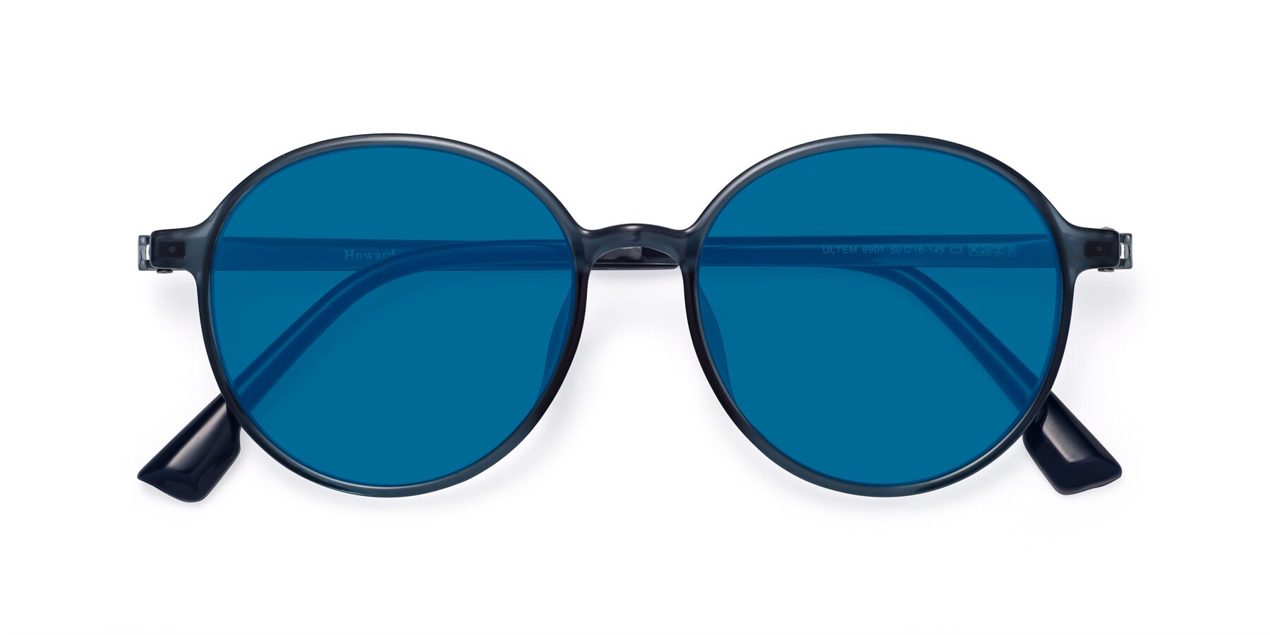 Folded Front of Howard in Deep Sky Blue with Blue Tinted Lenses