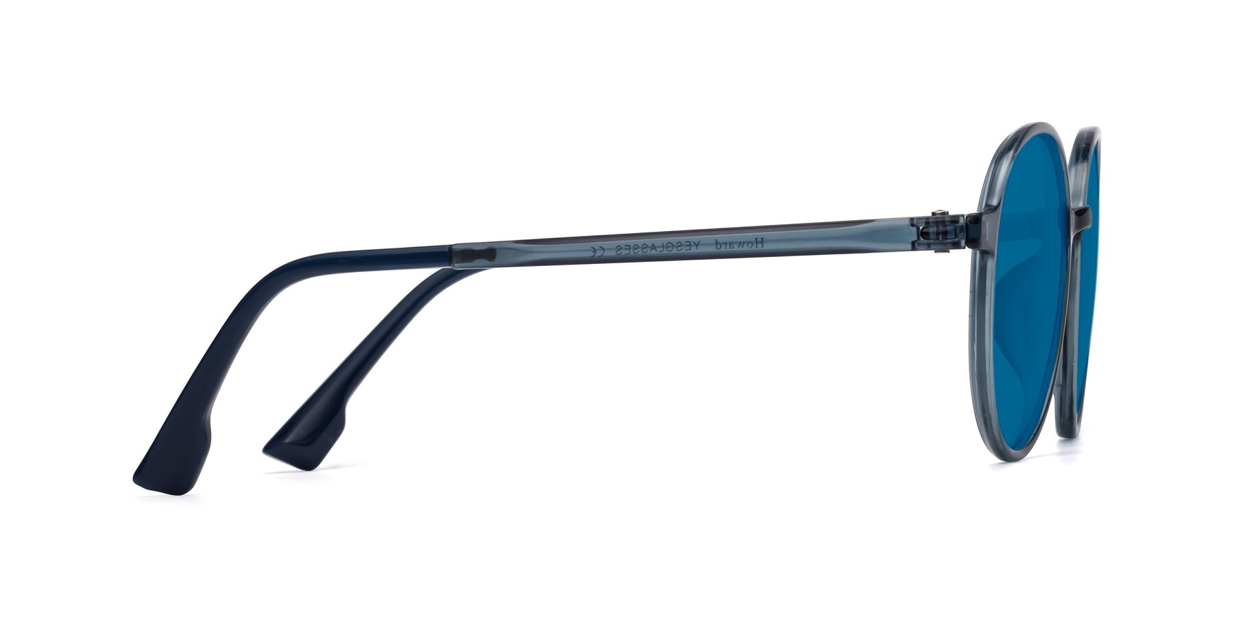 Side of Howard in Deep Sky Blue with Blue Tinted Lenses