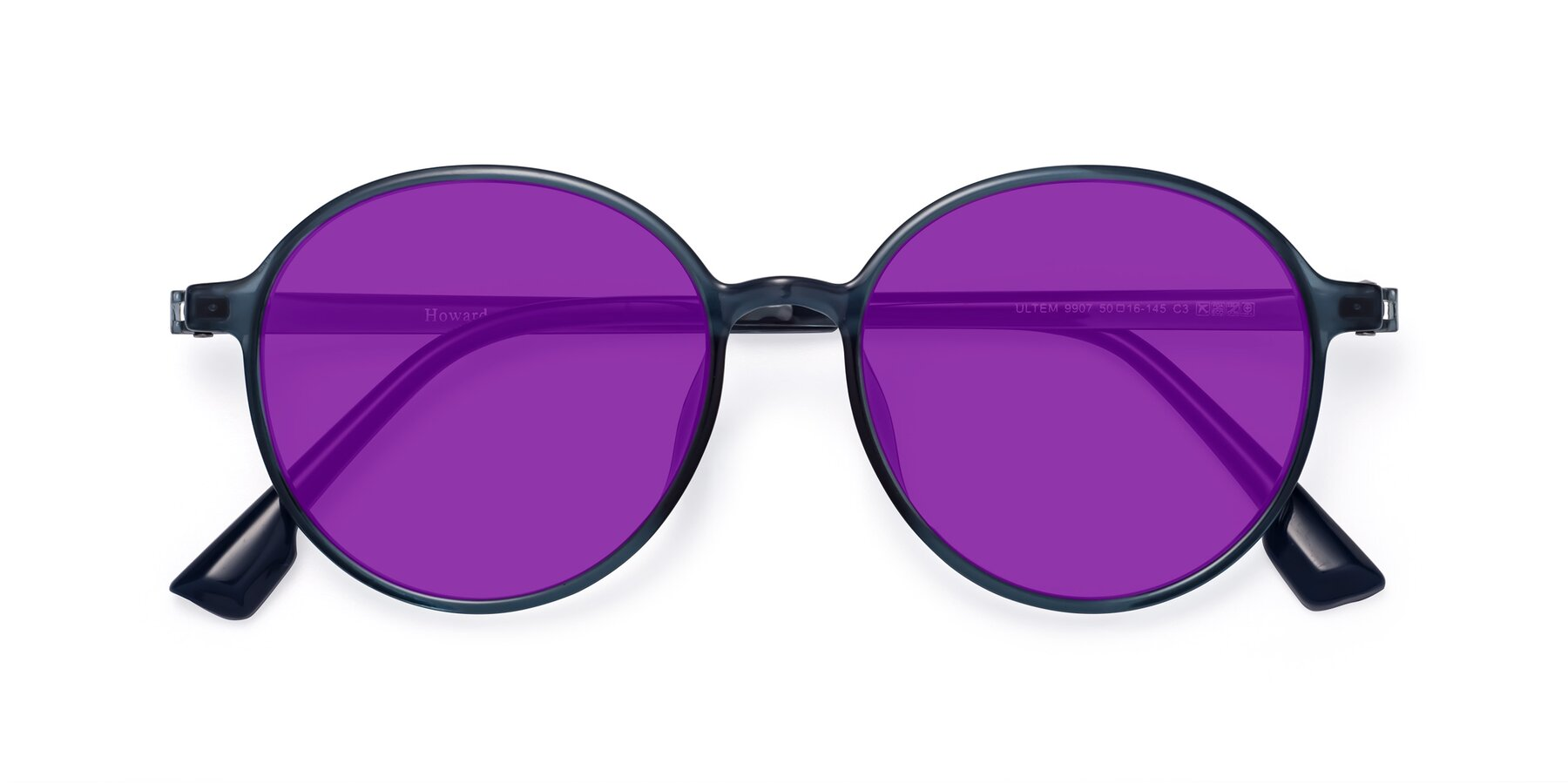 Folded Front of Howard in Deep Sky Blue with Purple Tinted Lenses