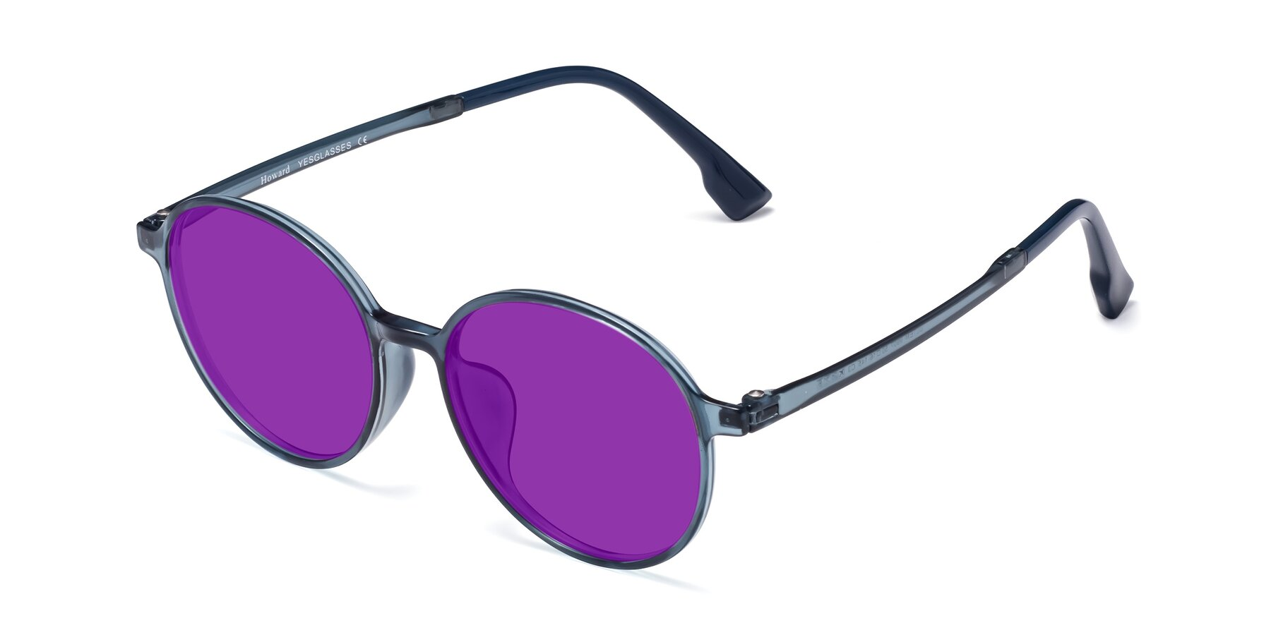 Angle of Howard in Deep Sky Blue with Purple Tinted Lenses