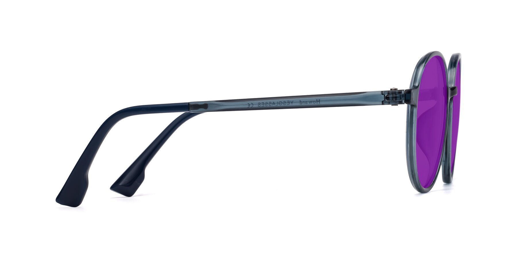Side of Howard in Deep Sky Blue with Purple Tinted Lenses