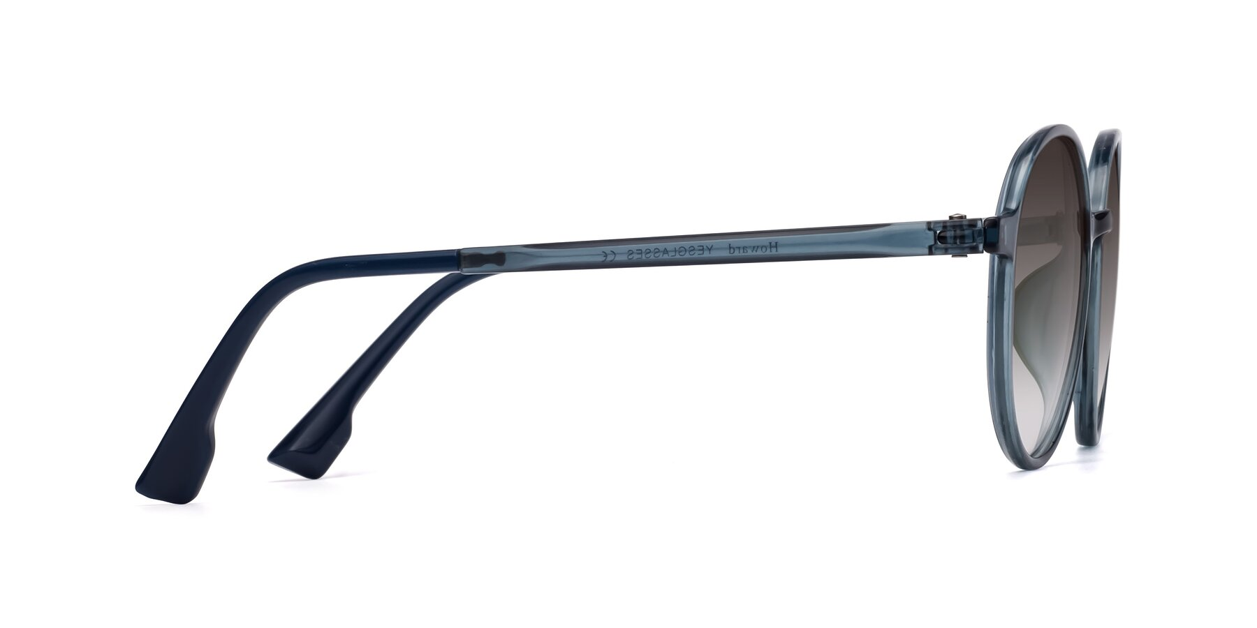Side of Howard in Deep Sky Blue with Gray Gradient Lenses