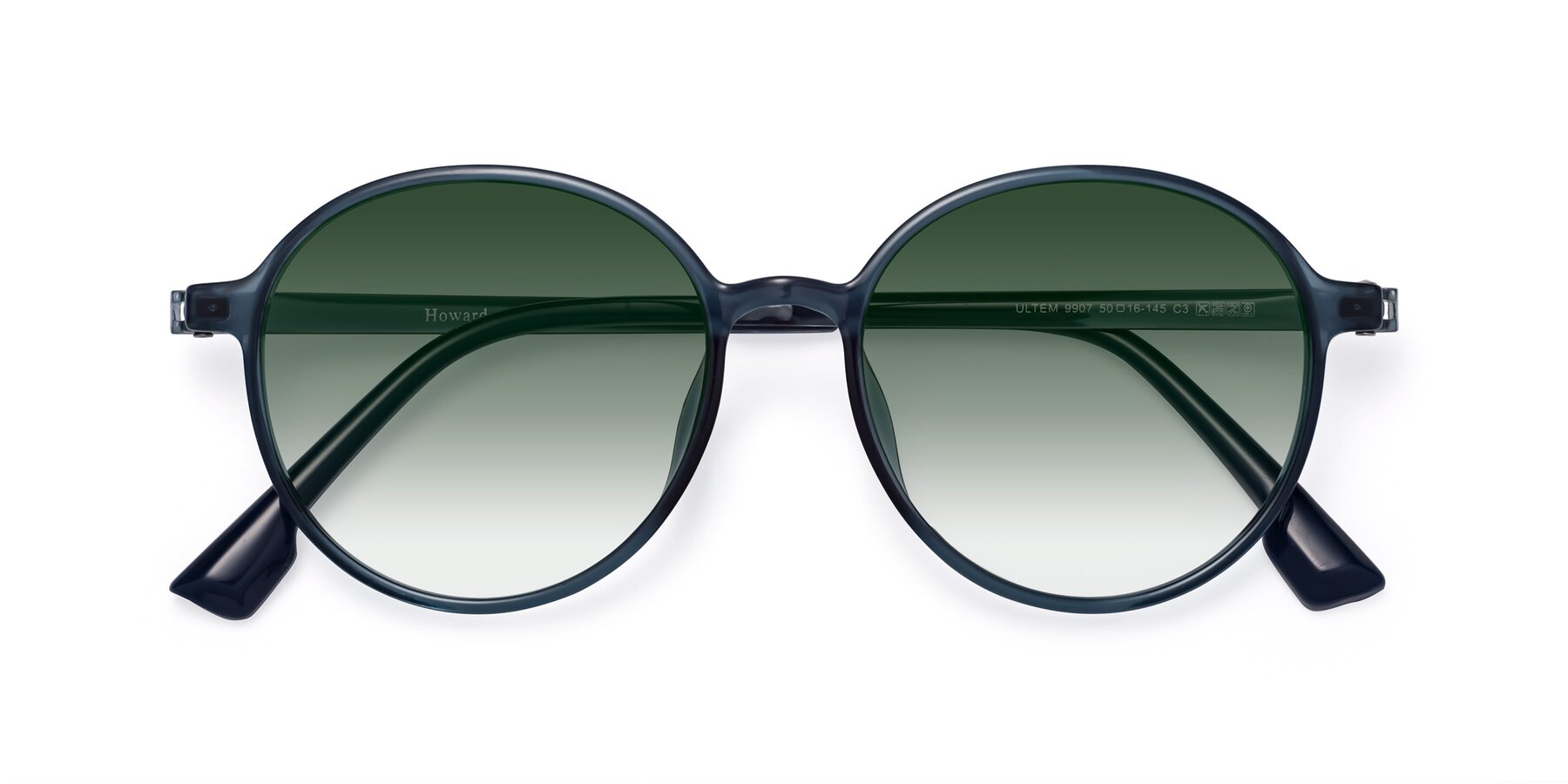 Folded Front of Howard in Deep Sky Blue with Green Gradient Lenses