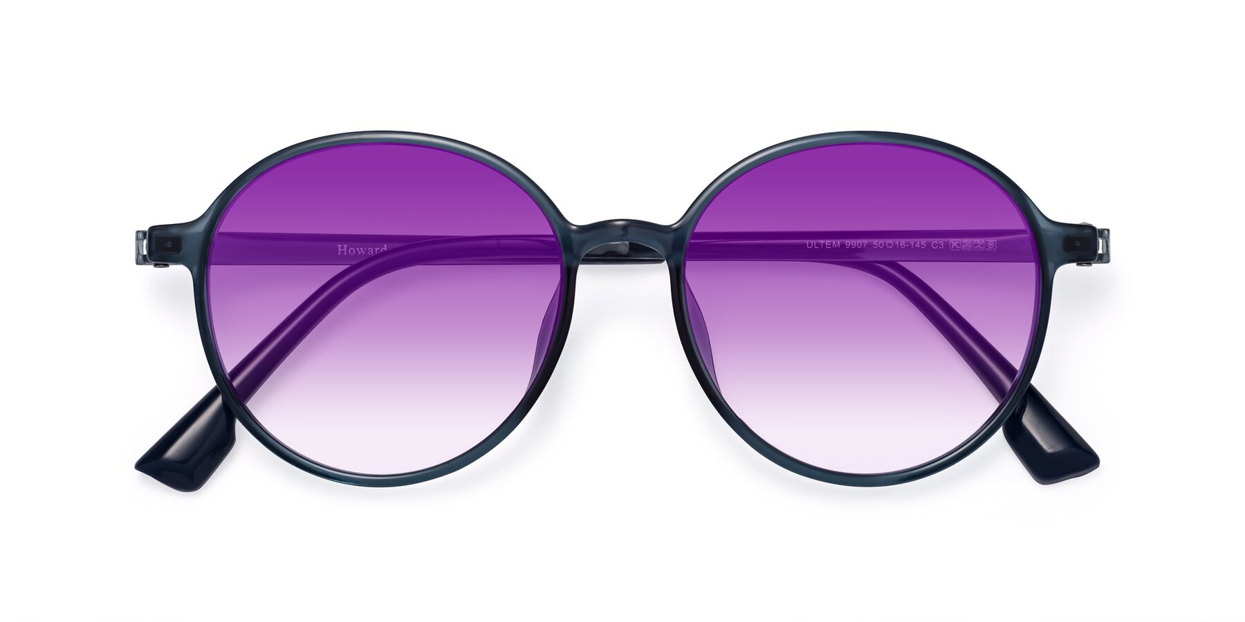 Folded Front of Howard in Deep Sky Blue with Purple Gradient Lenses