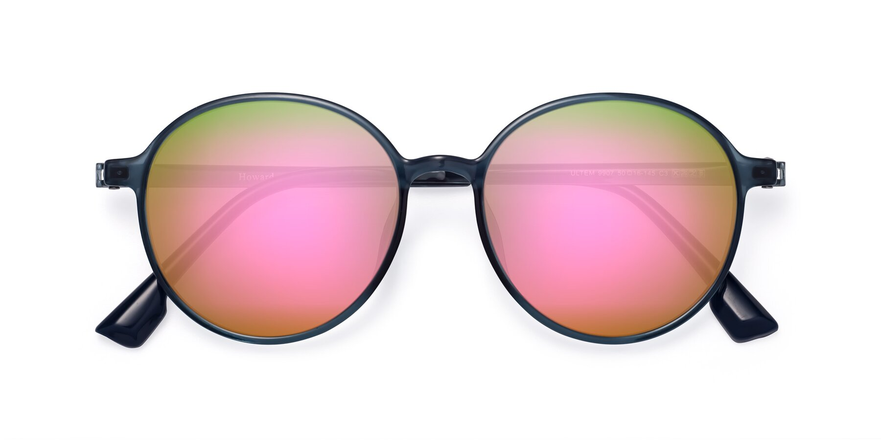 Folded Front of Howard in Deep Sky Blue with Pink Mirrored Lenses