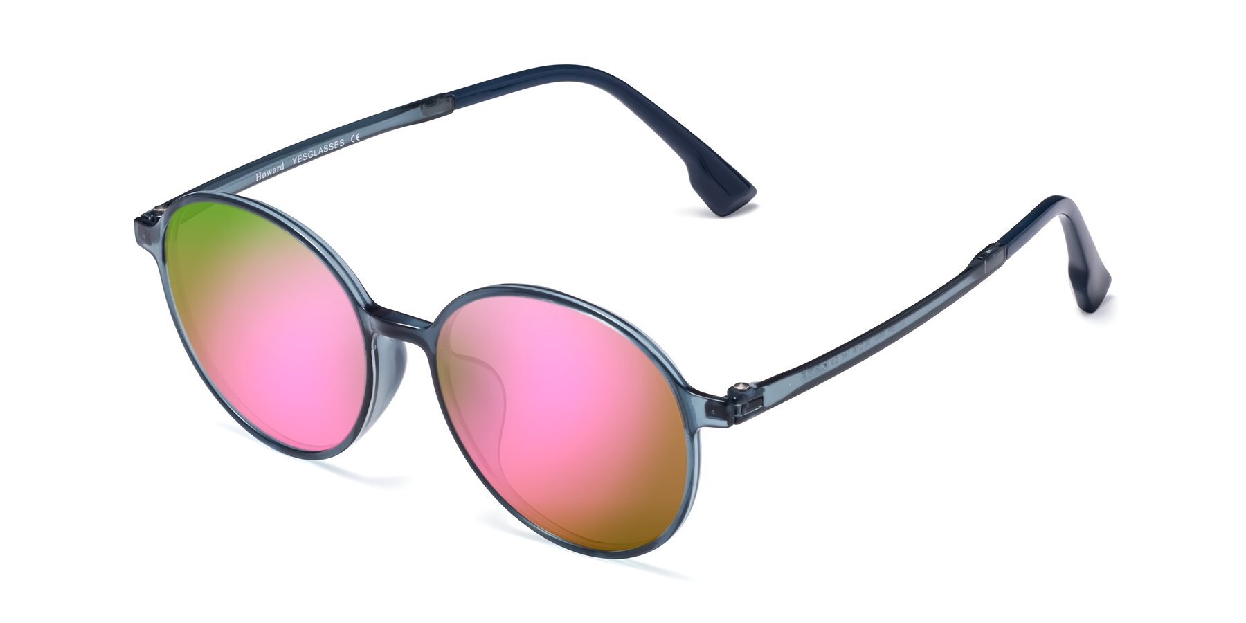 Angle of Howard in Deep Sky Blue with Pink Mirrored Lenses