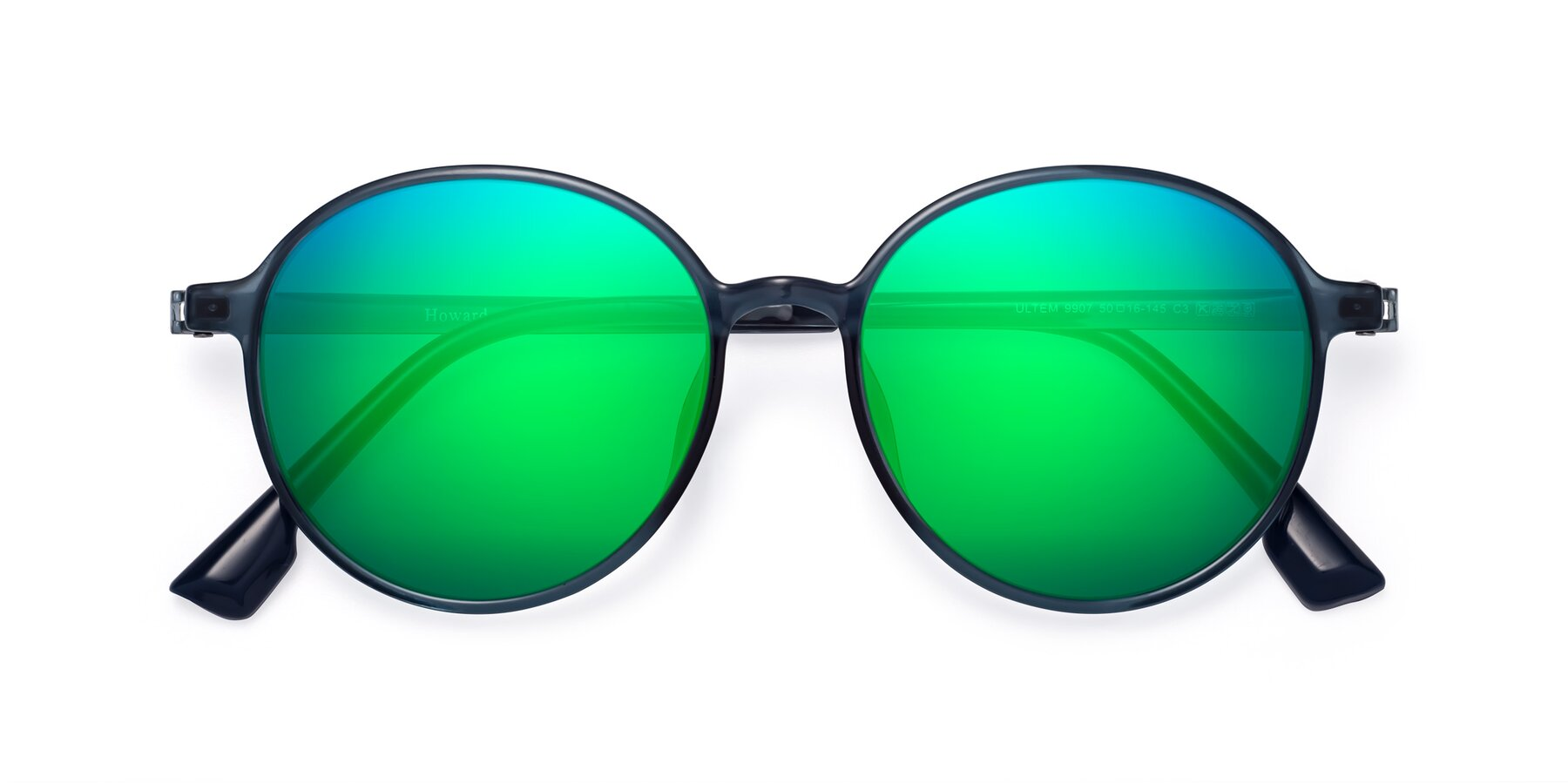 Folded Front of Howard in Deep Sky Blue with Green Mirrored Lenses