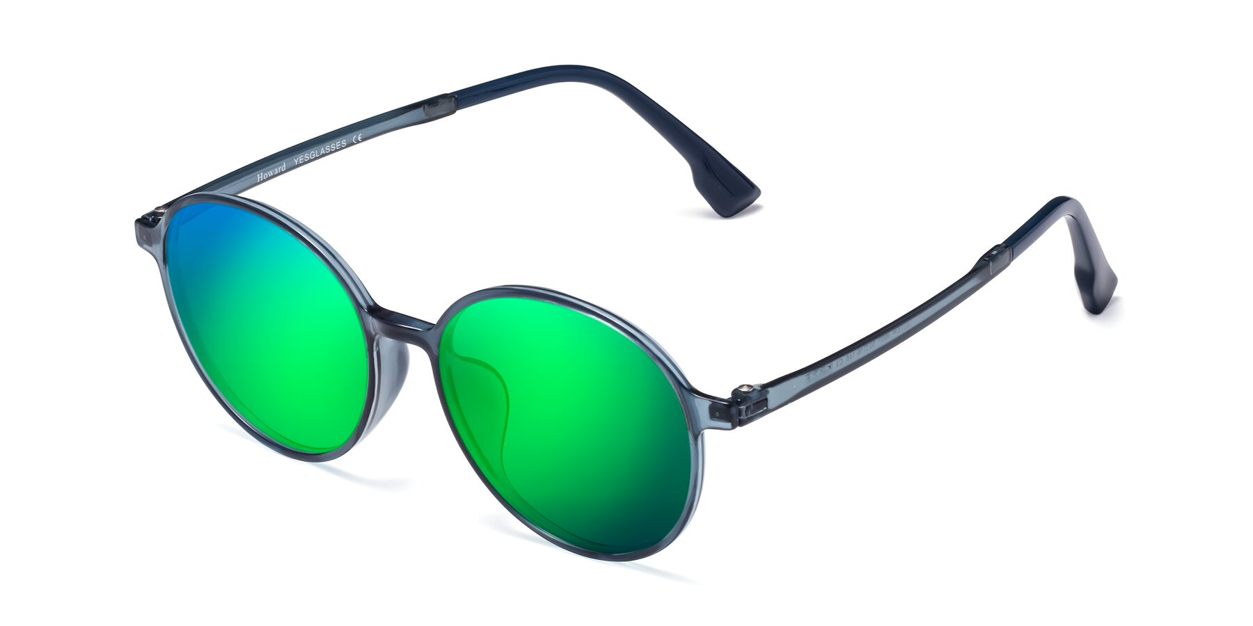 Angle of Howard in Deep Sky Blue with Green Mirrored Lenses