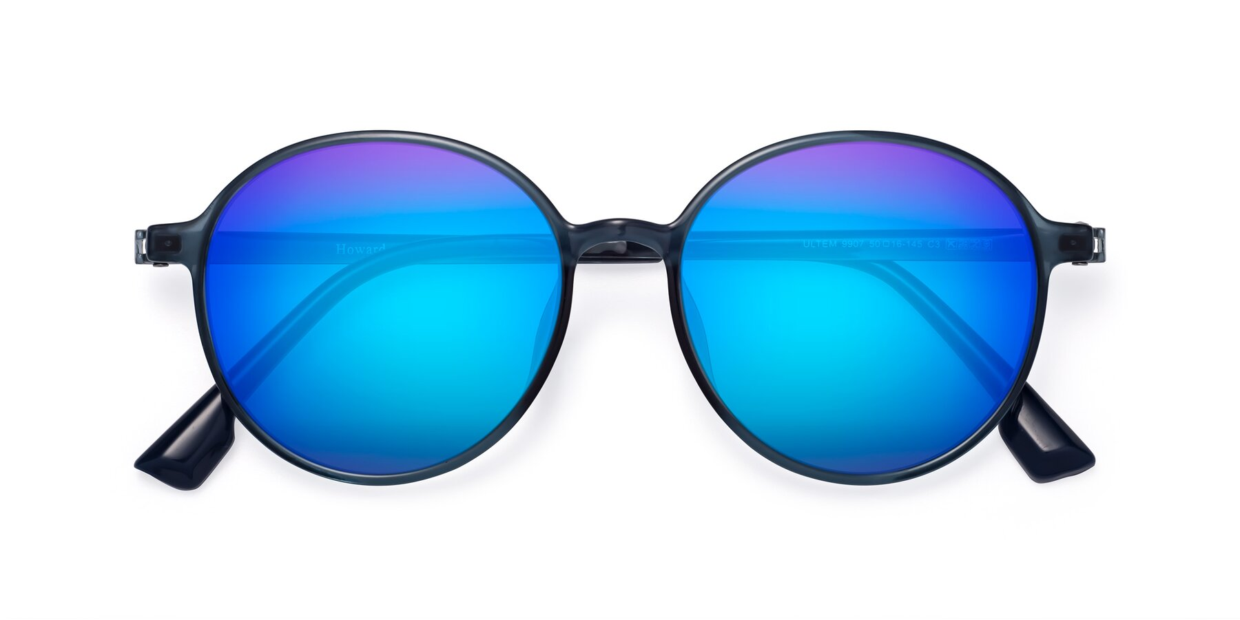 Folded Front of Howard in Deep Sky Blue with Blue Mirrored Lenses