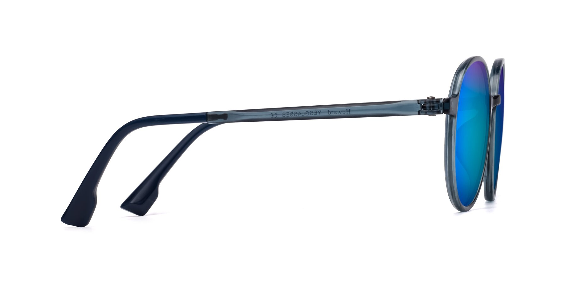 Side of Howard in Deep Sky Blue with Blue Mirrored Lenses