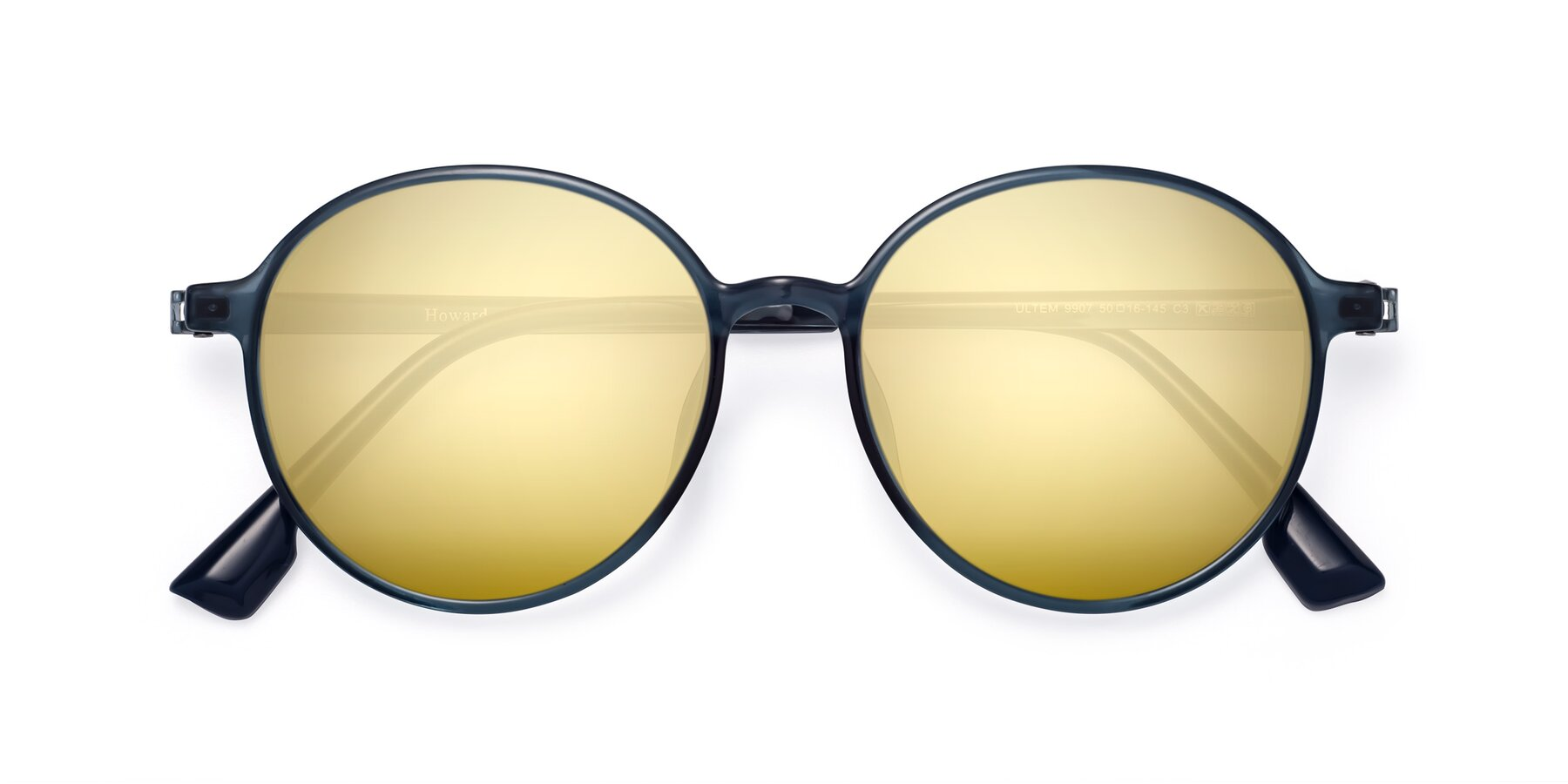 Folded Front of Howard in Deep Sky Blue with Gold Mirrored Lenses