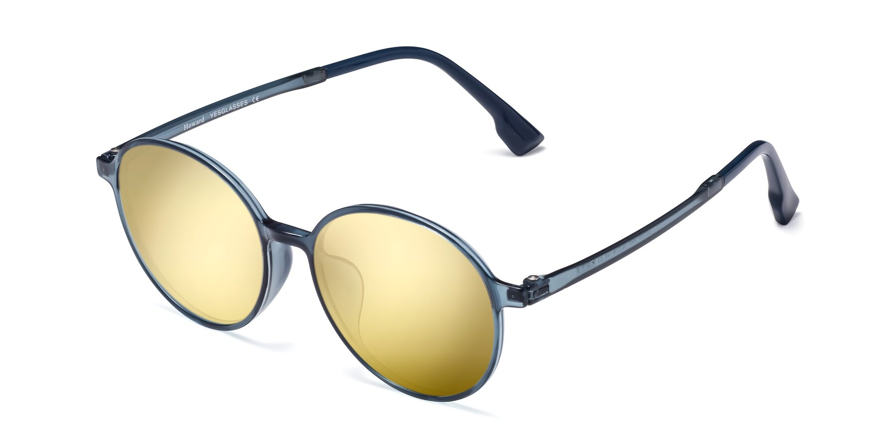 Angle of Howard in Deep Sky Blue with Gold Mirrored Lenses
