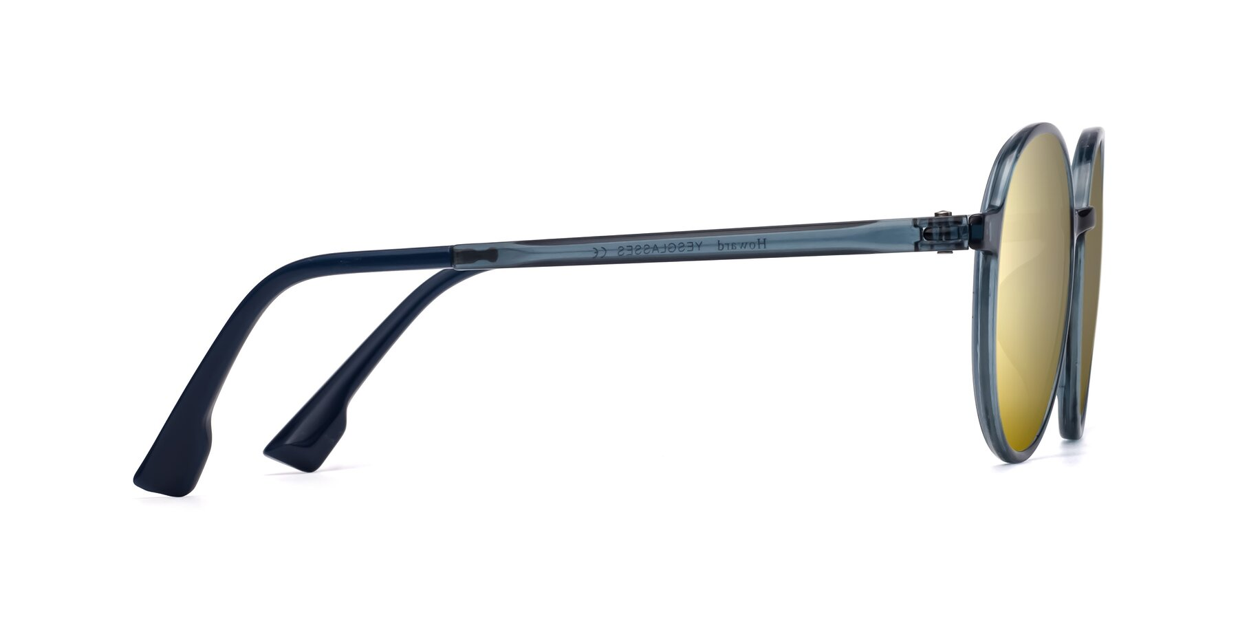 Side of Howard in Deep Sky Blue with Gold Mirrored Lenses