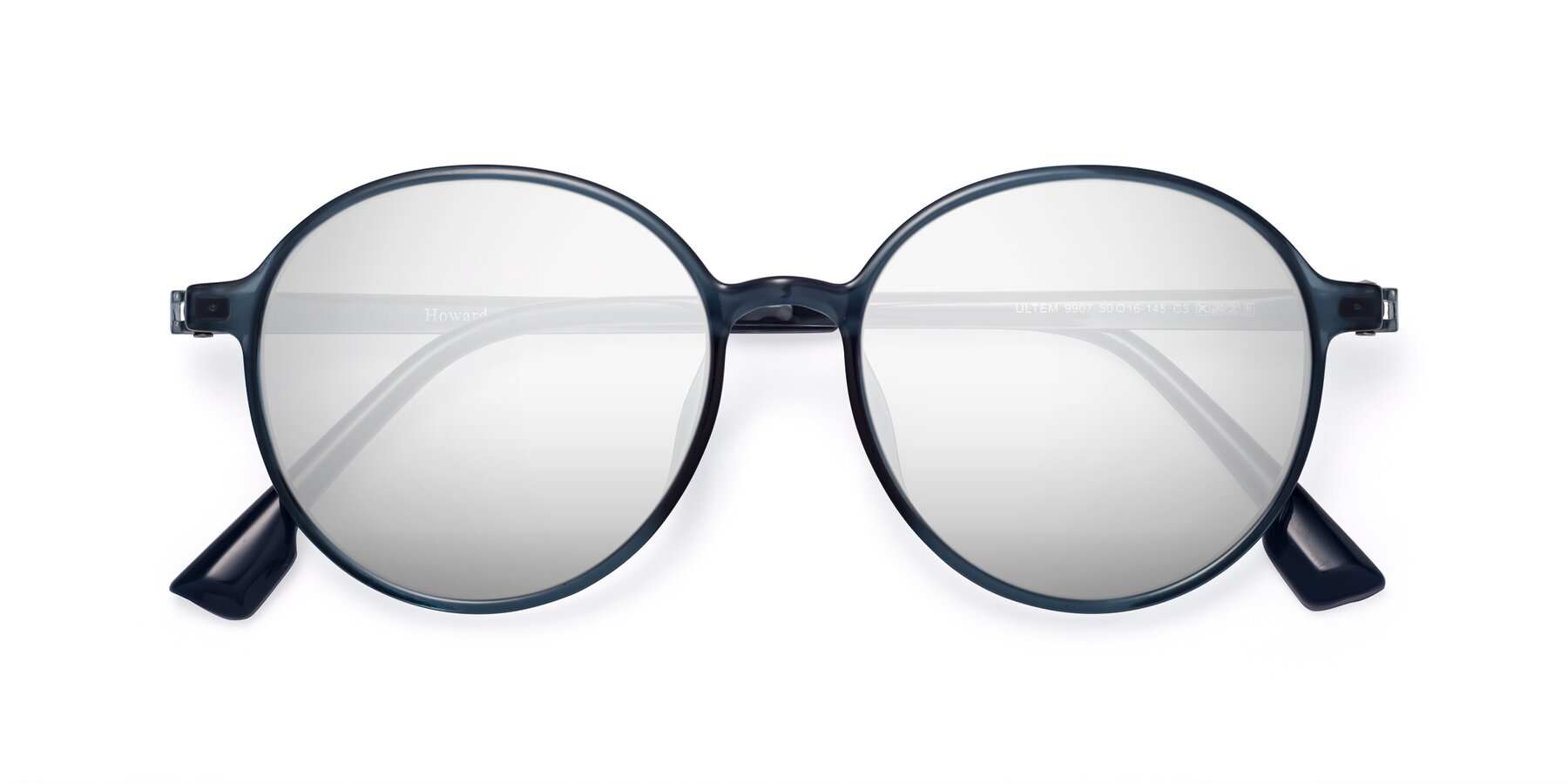 Folded Front of Howard in Deep Sky Blue with Silver Mirrored Lenses