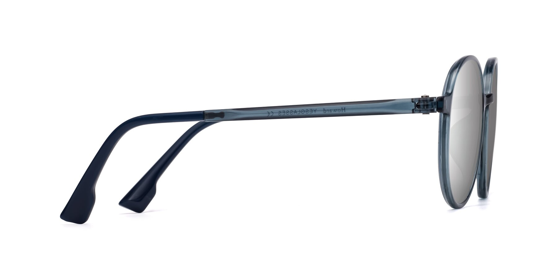 Side of Howard in Deep Sky Blue with Silver Mirrored Lenses
