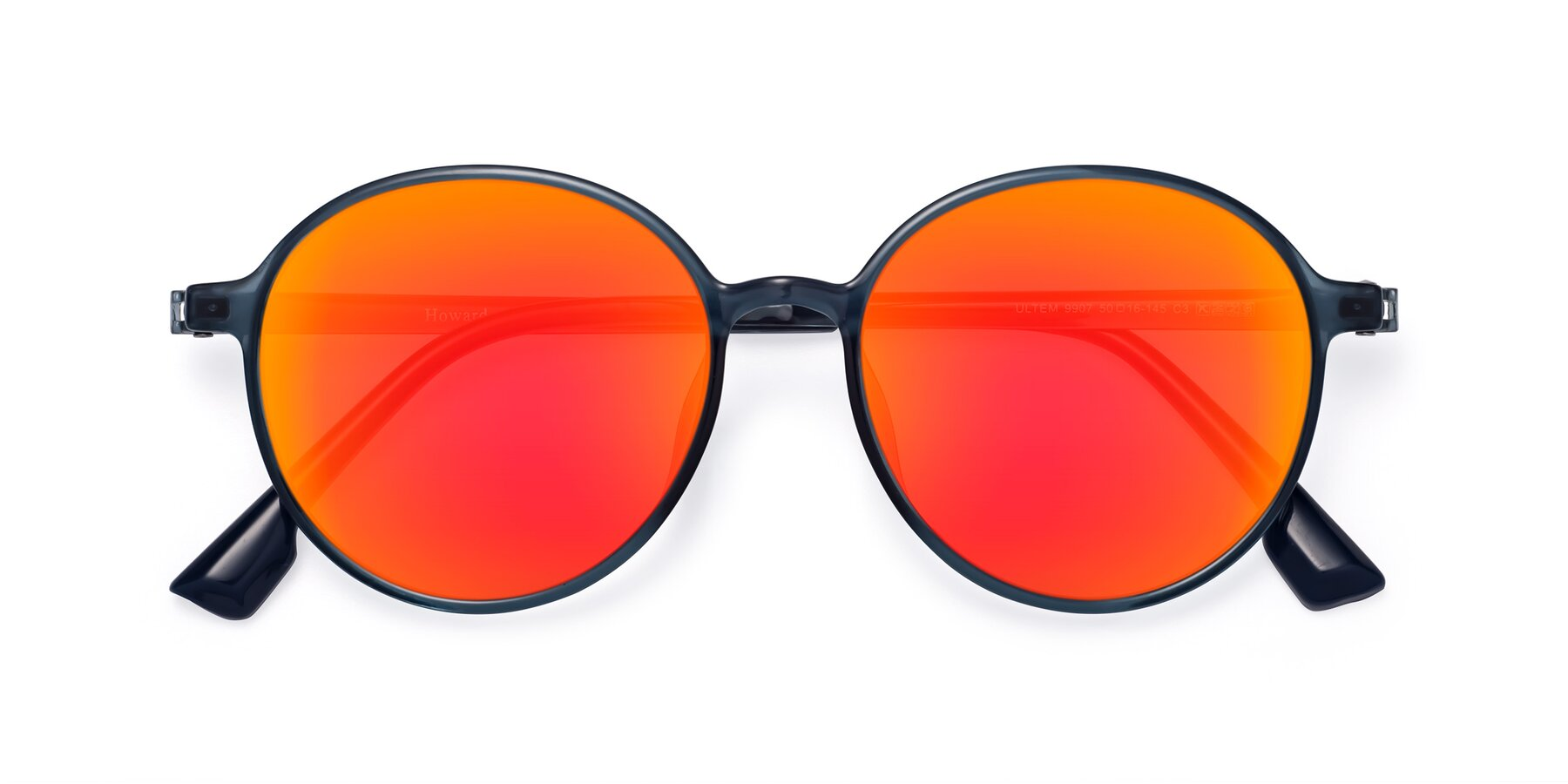 Folded Front of Howard in Deep Sky Blue with Red Gold Mirrored Lenses