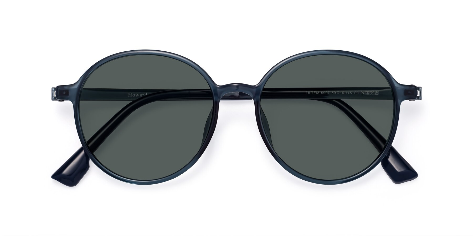 Folded Front of Howard in Deep Sky Blue with Gray Polarized Lenses