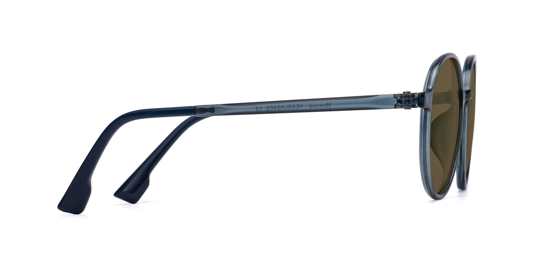Side of Howard in Deep Sky Blue with Brown Polarized Lenses