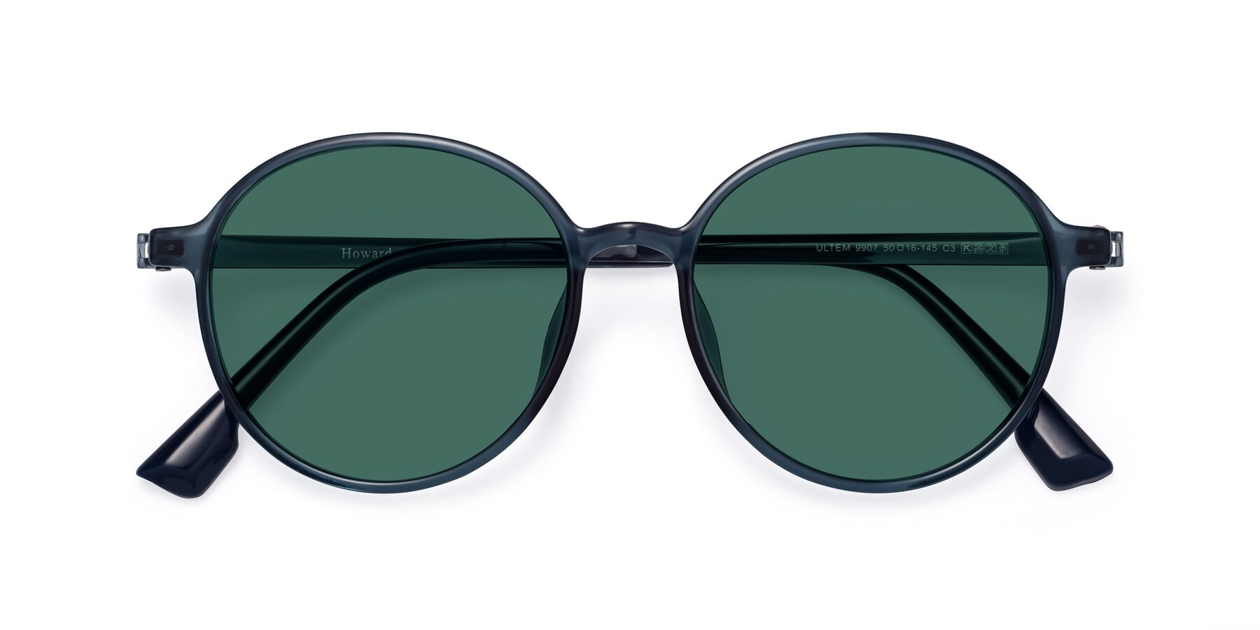 Folded Front of Howard in Deep Sky Blue with Green Polarized Lenses
