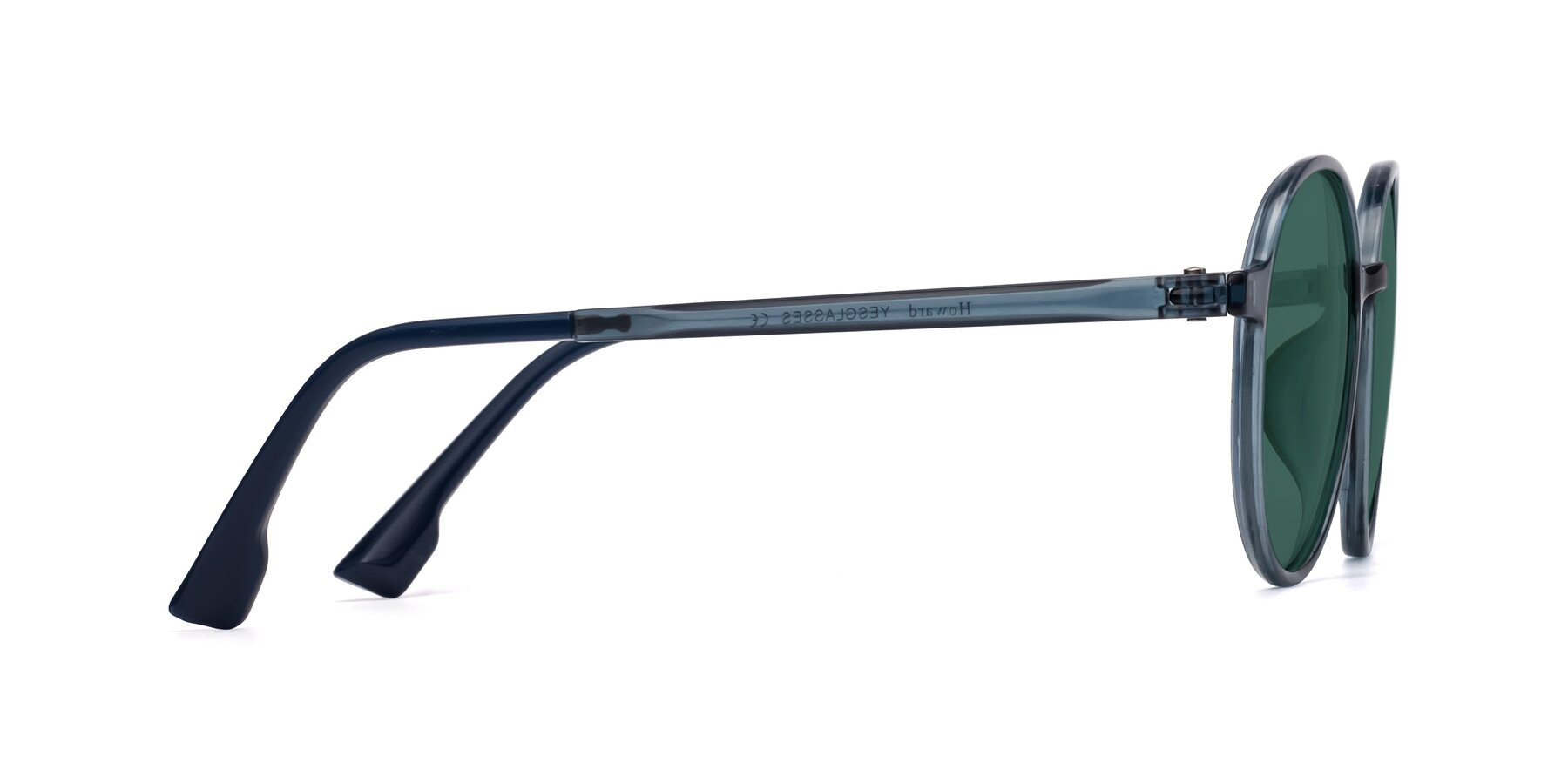 Side of Howard in Deep Sky Blue with Green Polarized Lenses