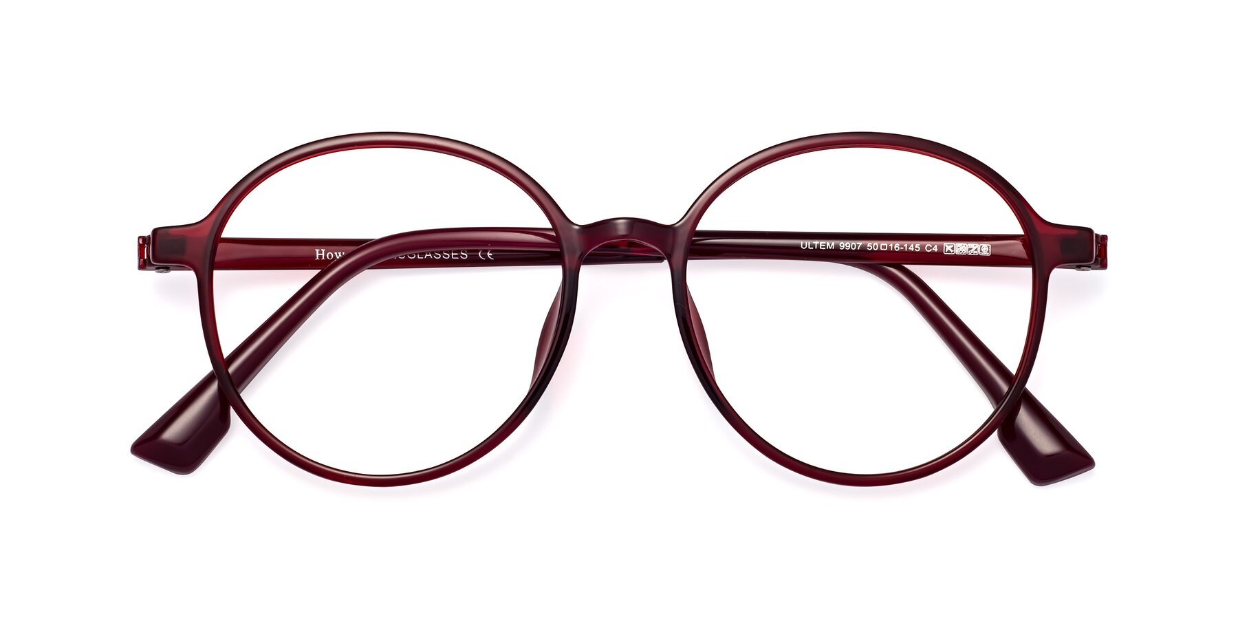 Folded Front of Howard in Wine with Clear Eyeglass Lenses