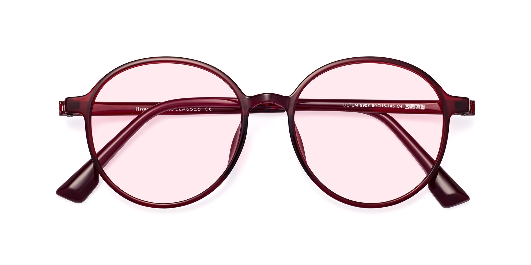 Folded Front of Howard in Wine with Light Pink Tinted Lenses