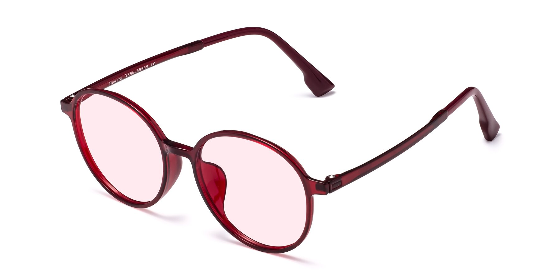 Angle of Howard in Wine with Light Pink Tinted Lenses
