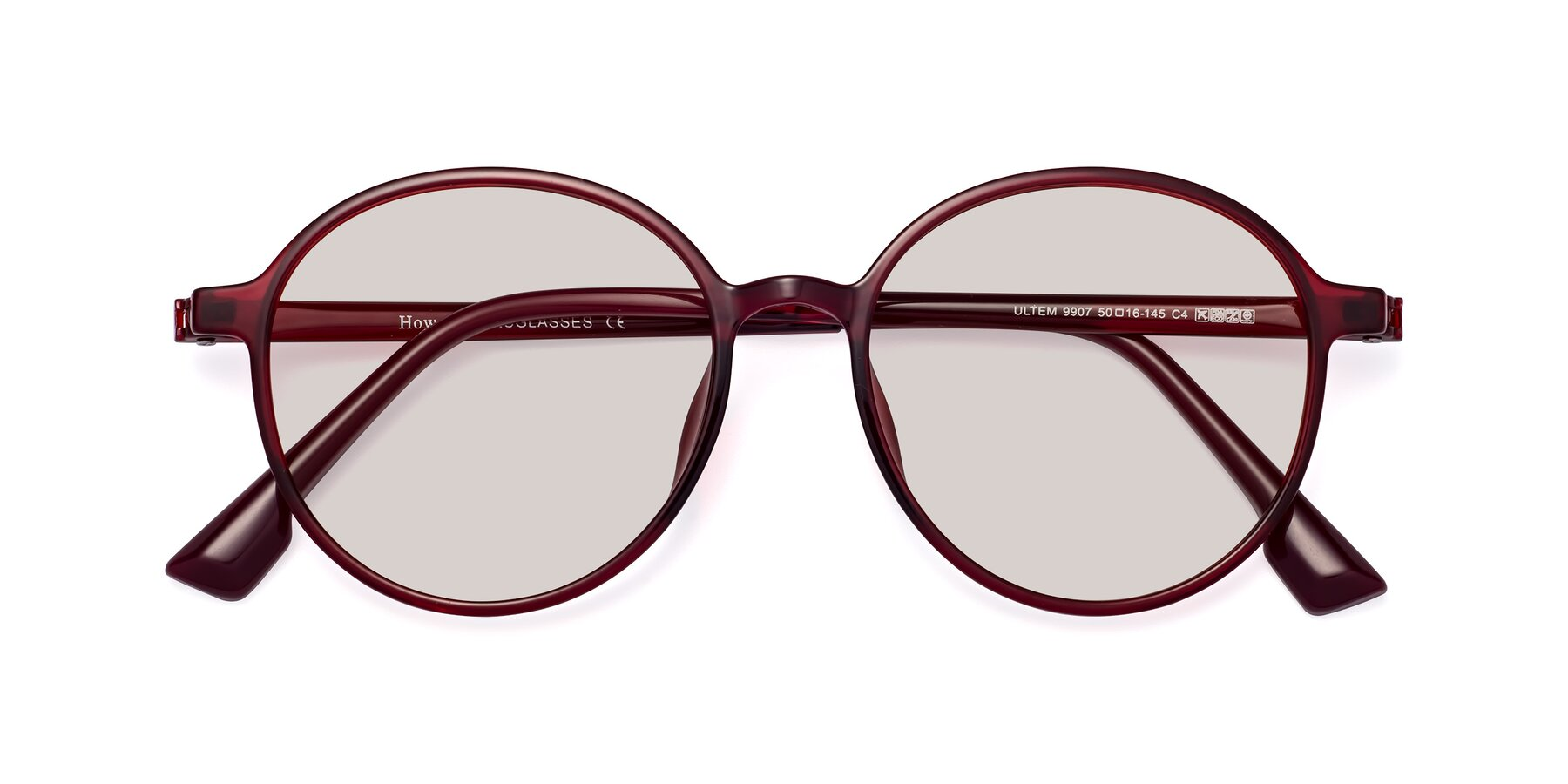 Folded Front of Howard in Wine with Light Brown Tinted Lenses