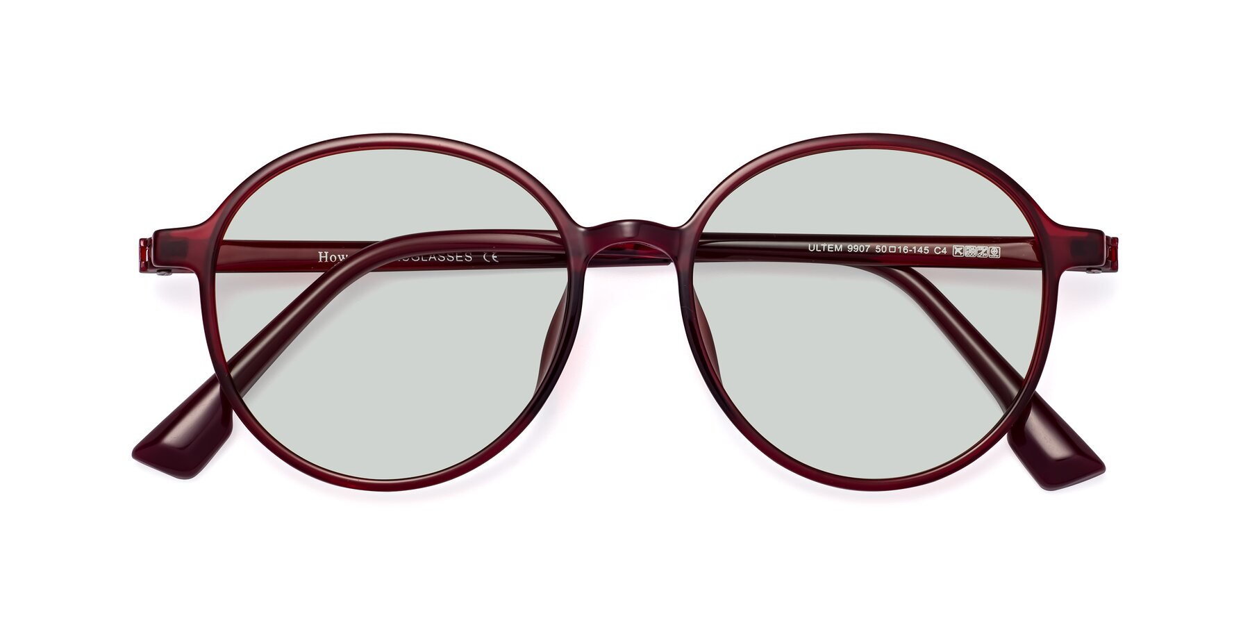 Folded Front of Howard in Wine with Light Green Tinted Lenses