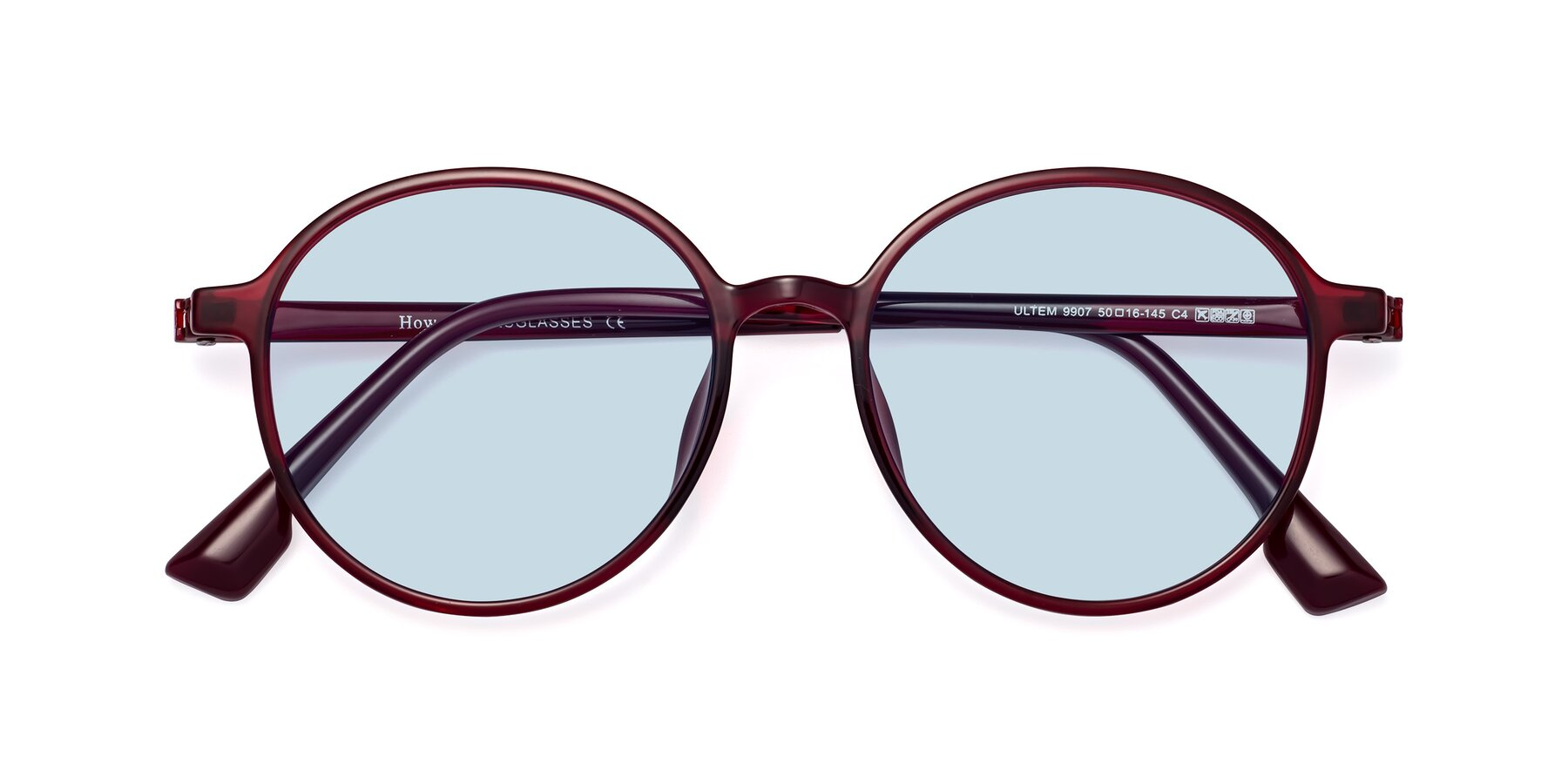 Folded Front of Howard in Wine with Light Blue Tinted Lenses