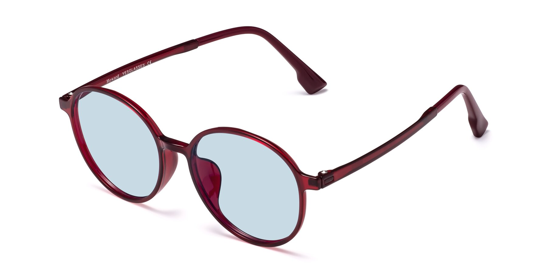 Angle of Howard in Wine with Light Blue Tinted Lenses
