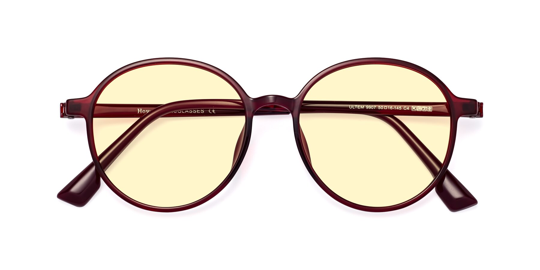 Folded Front of Howard in Wine with Light Yellow Tinted Lenses