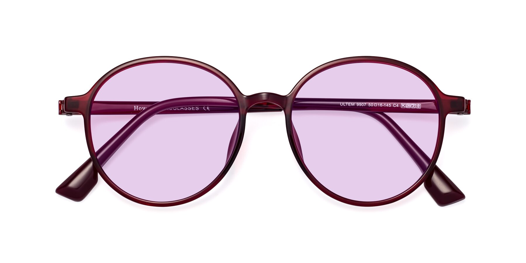 Folded Front of Howard in Wine with Light Purple Tinted Lenses
