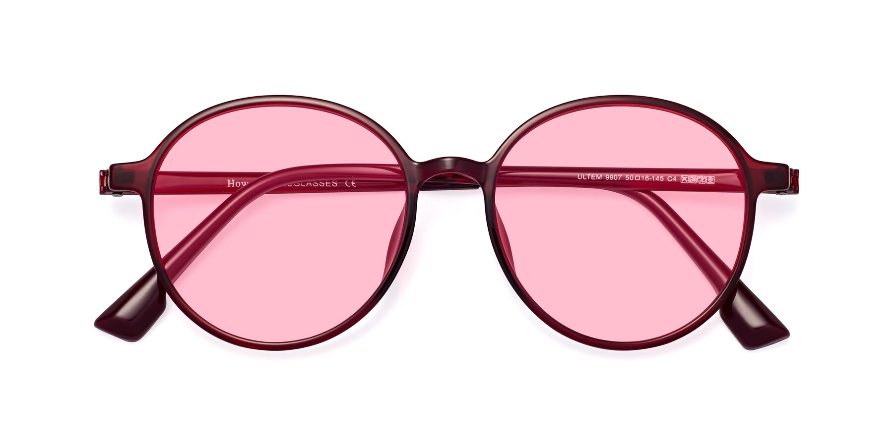 Folded Front of Howard in Wine with Medium Pink Tinted Lenses