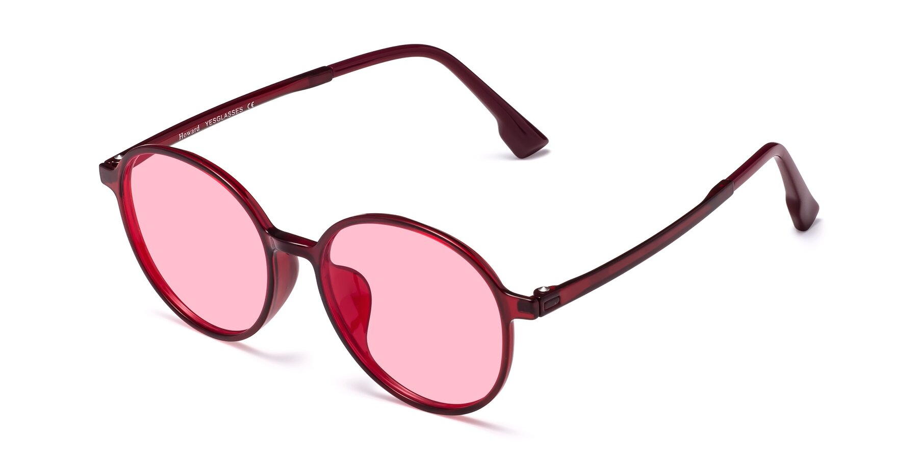 Angle of Howard in Wine with Medium Pink Tinted Lenses
