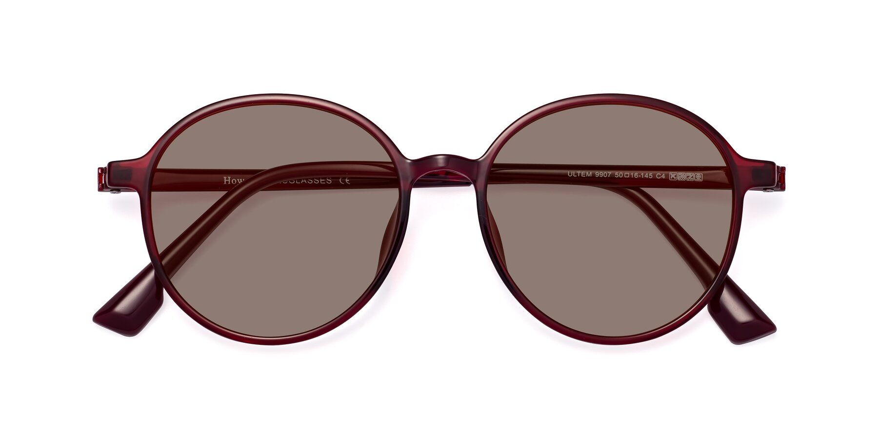 Folded Front of Howard in Wine with Medium Brown Tinted Lenses