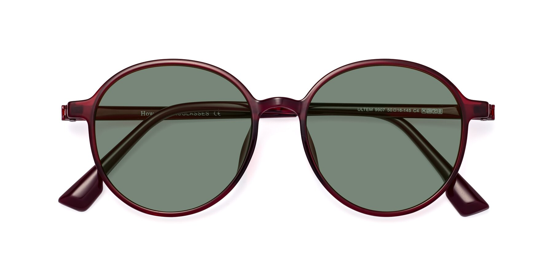 Folded Front of Howard in Wine with Medium Green Tinted Lenses